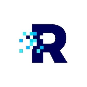 R 문자 픽셀 마크 디지털 8 비트 로고 벡터 아이콘 그림