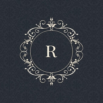 Distintivo dell'annata della lettera r sul nero