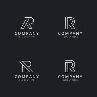 Шаблон логотипа с монограммой инициалы r line в серебряном стиле для компании