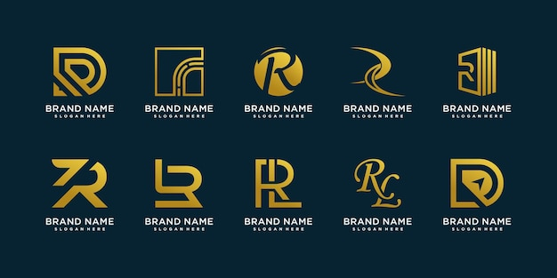 R logo collection with creative element style premium vector