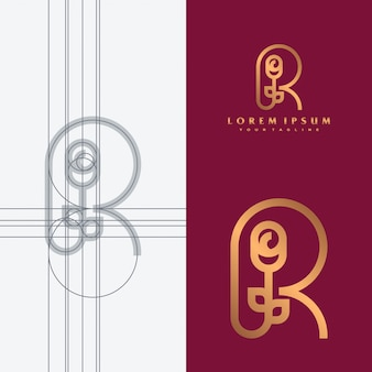 R & rose logo concept illustration.