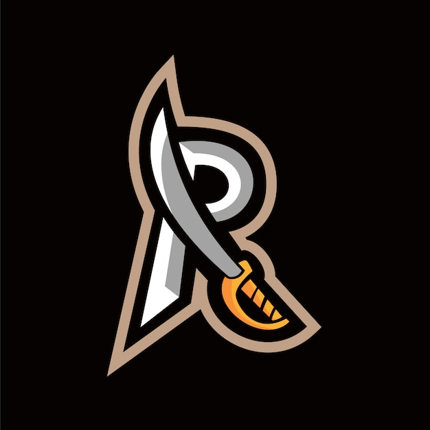R sword logo text