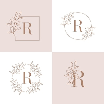 Буква r дизайн логотипа с элементом листьев орхидеи