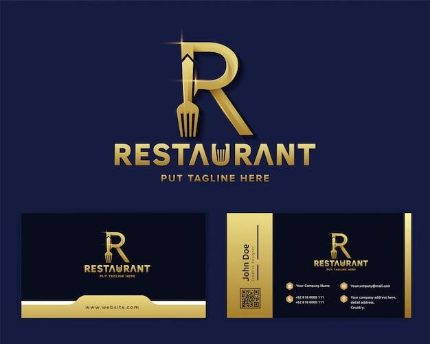 Креативная вилка с буквой r шаблон логотипа для ресторанной компании