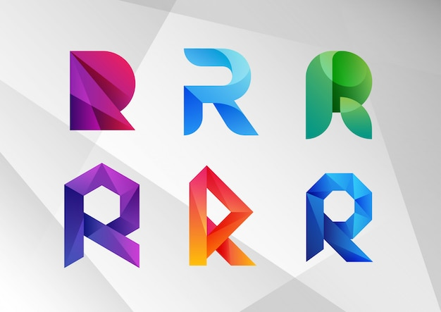 抽象的なグラデーションrロゴコレクション