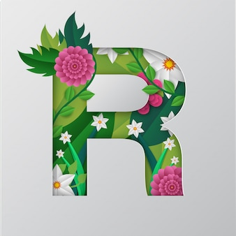 R алфавит выполнен цветочным дизайном.