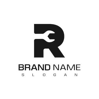 手紙r、分離された修理ロゴデザインベクトルテンプレート