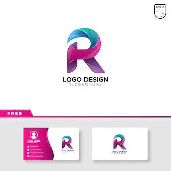 グラデーションカラーの文字rの創造的なロゴ