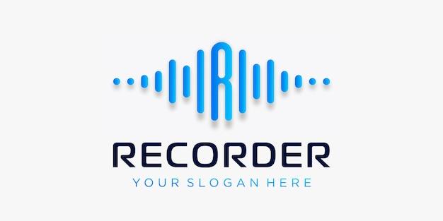 Буква r с импульсным логотипом. элемент записи. шаблон логотипа электронная музыка, эквалайзер, магазин, диджей музыка, ночной клуб, дискотека. аудио волна логотип концепция, мультимедийные технологии тематические, абстрактные формы.