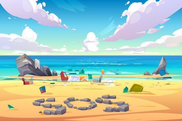 プラスチックrゴミで覆われた汚染された海辺