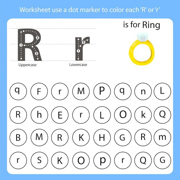 ワークシートはドットマーカーを使って各rに色を付けます