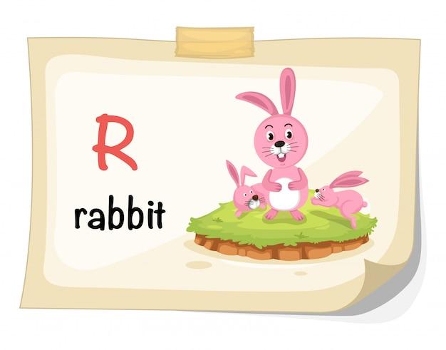 ウサギのイラストのための動物のアルファベット文字r