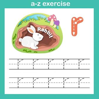 アルファベットの手紙rウサギの運動、ペーパーカットの概念のベクトル図