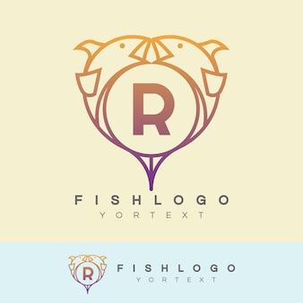 魚の初期レターrロゴデザイン