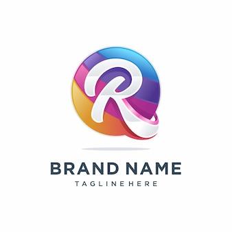 モダンなカラフルな文字rロゴデザイン