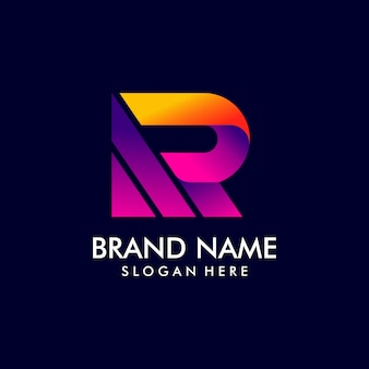 グラデーションスタイルの文字rロゴデザイン