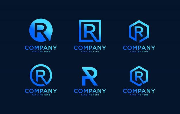 Вдохновенная буква r монограмма дизайн логотипа