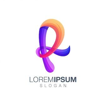 Буква r градиент цветной логотип