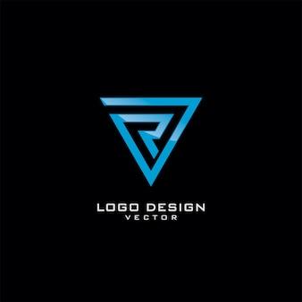 トライアングルラインアートロゴデザインのrレター