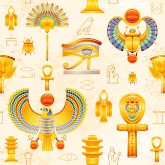 古代エジプトのシームレスなパターン。エジプトのファラオのシンボルの背景。 ra sun scarab、horus falcon wadjet eye、isis tyet knot、coptic ankh、fan、lotus、osiris djed pillar。