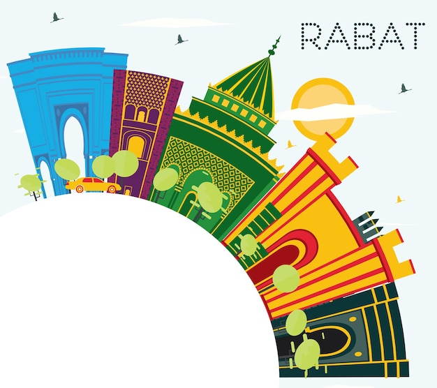Rabat morocco skyline with color buildings, blue sky and copy space. vector illustration. business travel and tourism concept with historic architecture. rabat cityscape with landmarks.