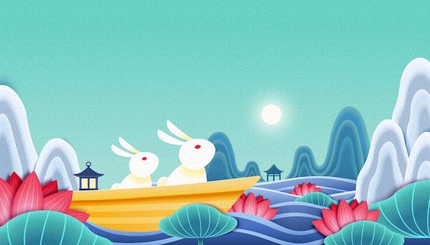Rabbit admiring the full moon in chinese lotus garden, mid autumn festival illustration