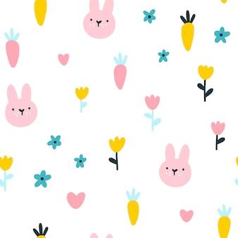 ウサギとニンジンのシームレスなパターン。