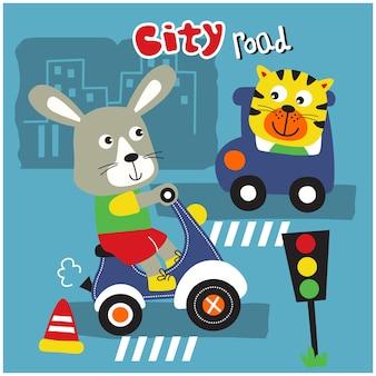 道路上のウサギと猫面白い動物の漫画