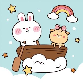 Кролик и собака на лодке.