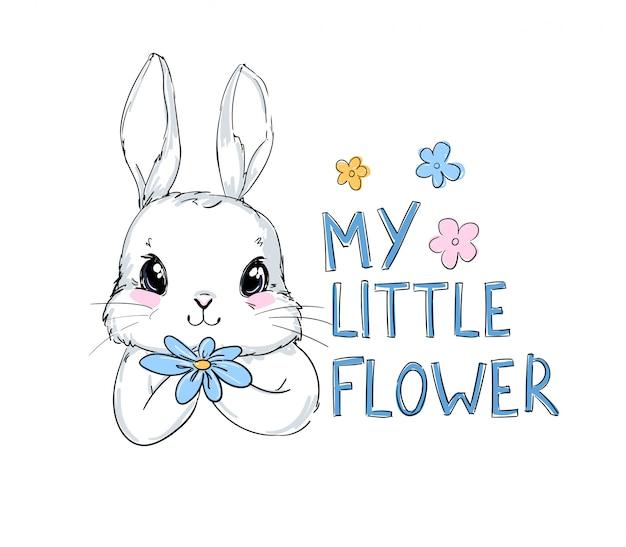 Кролик и цветы детские иллюстрации. зайчик принт для детского текстиля.