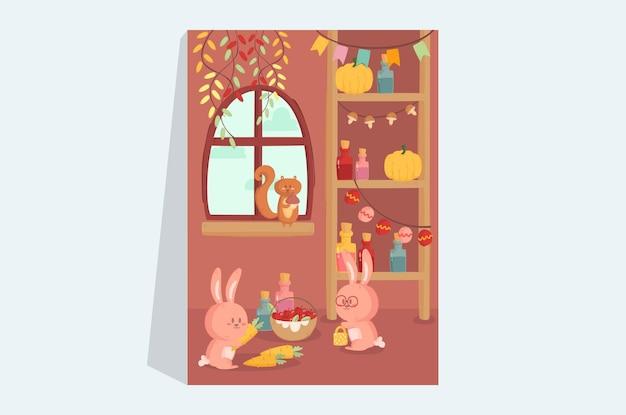 Иллюстрация кролика и белки