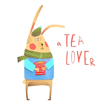 ウサギとお茶を飲む