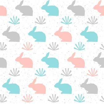 토끼 배경입니다. 카드, 초대장, 앨범, 스크랩북, 부활절 휴가 포장지, 섬유 직물, 의류 등을 위한 회색, 파란색 및 분홍색 추상 토끼 농장 동물 테마입니다.