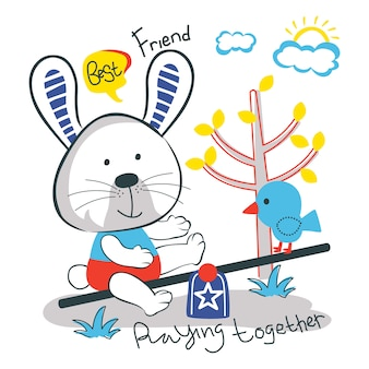 Rabbit and bird funny animal cartoon