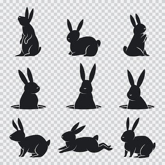 Rabbit black silhouette