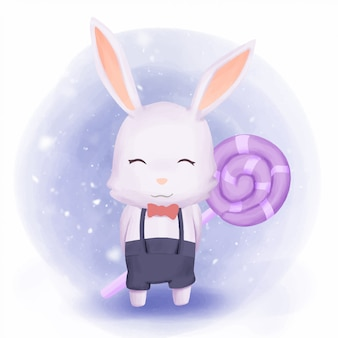 Rabbit boy held candy on back