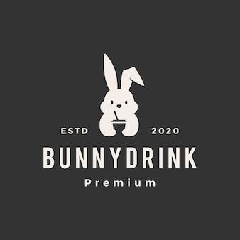 Rabbit bunny drink vintage logo