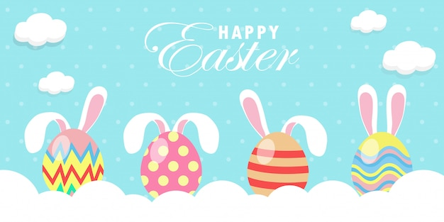 Rabbit bunny easter banner template