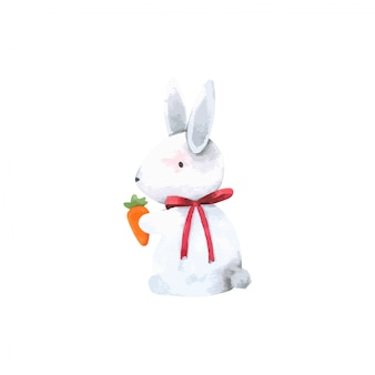 Rabbit bunny holding carrot cartoon watercolor, forest animal hand drawn painted character