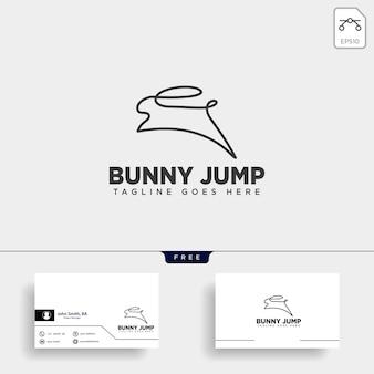 Rabbit or bunny jump animal line art style logo
