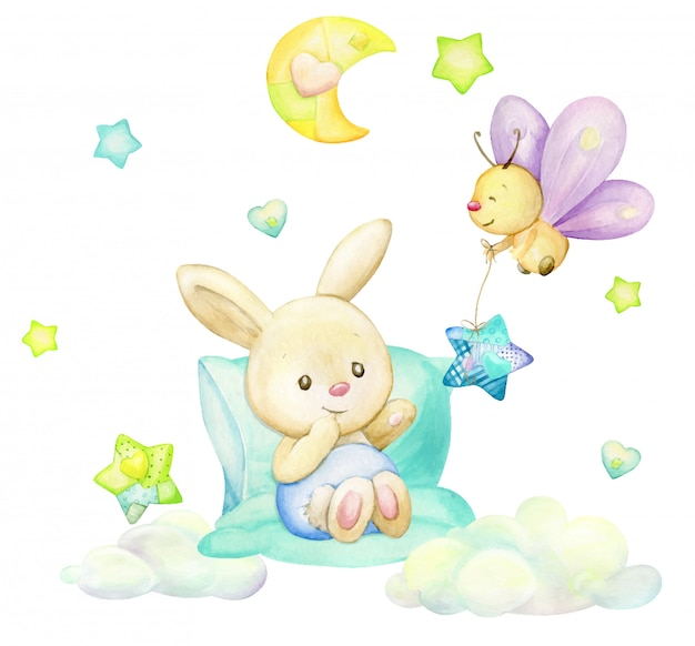ウサギ、蝶、月、星、雲、漫画のスタイルで。孤立した背景の水彩画のクリップアート。