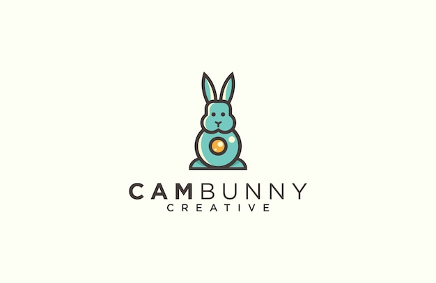 Rabbit and camera logo design vector