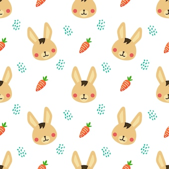 Rabbit and carrot animal vector seamless pattern background