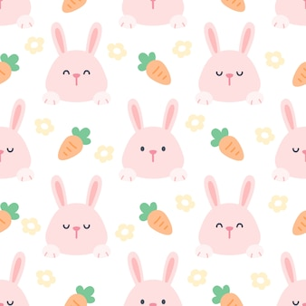 Rabbit and carrot seamless pattern background