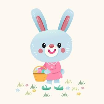 ウサギの卵のバスケットを運ぶ