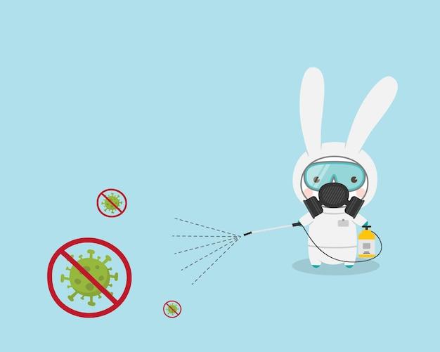 ウサギの漫画のキャラクターのウイルスのクリーニングと消毒。新しいコロナウイルス(covid-19疾患)から保護するための防護マスクと防護服スプレー消毒剤を身に着けているかわいいウサギ。