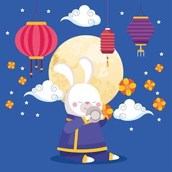 Мультфильм кролика в традиционной ткани с чашкой чая и дизайном фонарей, восточный китайский праздник урожая середины осени и тема празднования