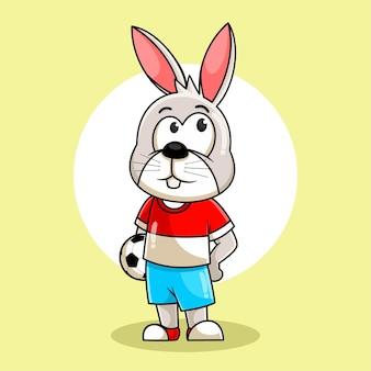 Мультфильм кролик позирует с мячом иллюстрации