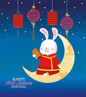 Rabbit cartoon in traditional cloth on moon with mooncake and lanterns design, happy mid autumn harvest festival oriental chinese and celebration theme