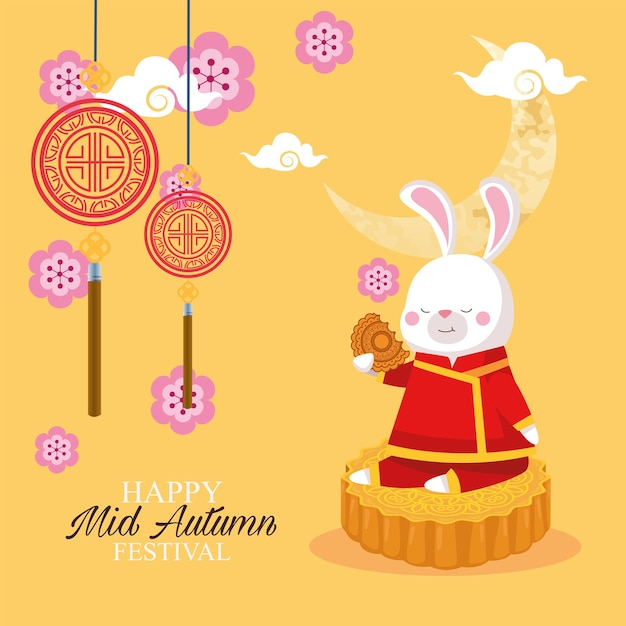 Rabbit cartoon in traditional cloth on mooncake design, happy mid autumn harvest festival oriental chinese and celebration theme